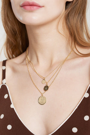 3-chain Pendant Necklace-Gold