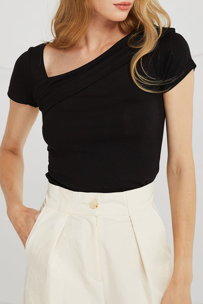 Elena Asymmetric V-Neck Top