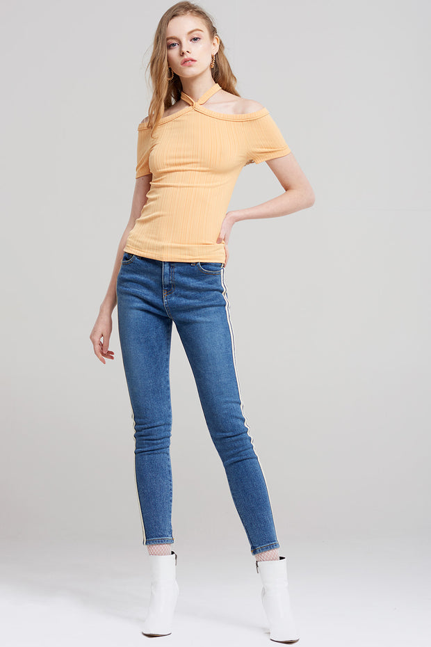 Ivanna Halter Ribbed Jersey Top