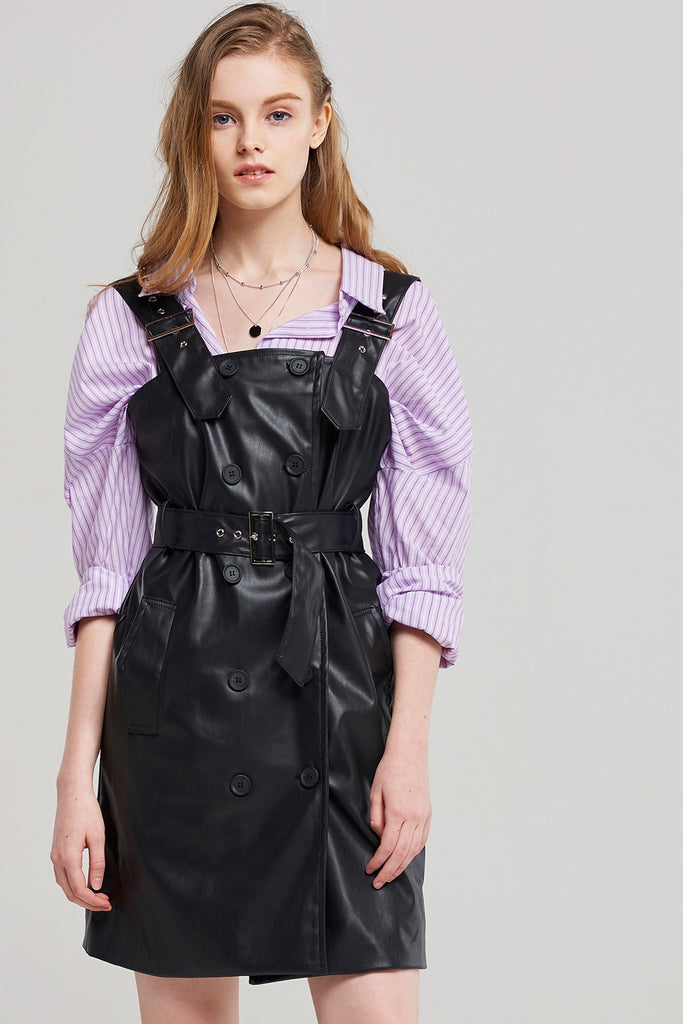 Phoebe Trench Leather Dress