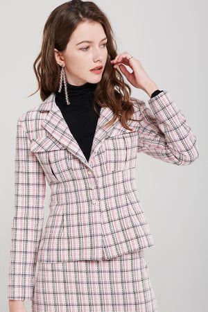 Amelie Tweed Plaid Jacket