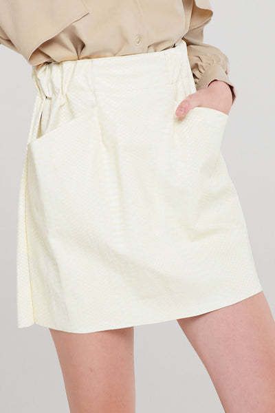 Cameron Scoop Pocket Pleather Skirt