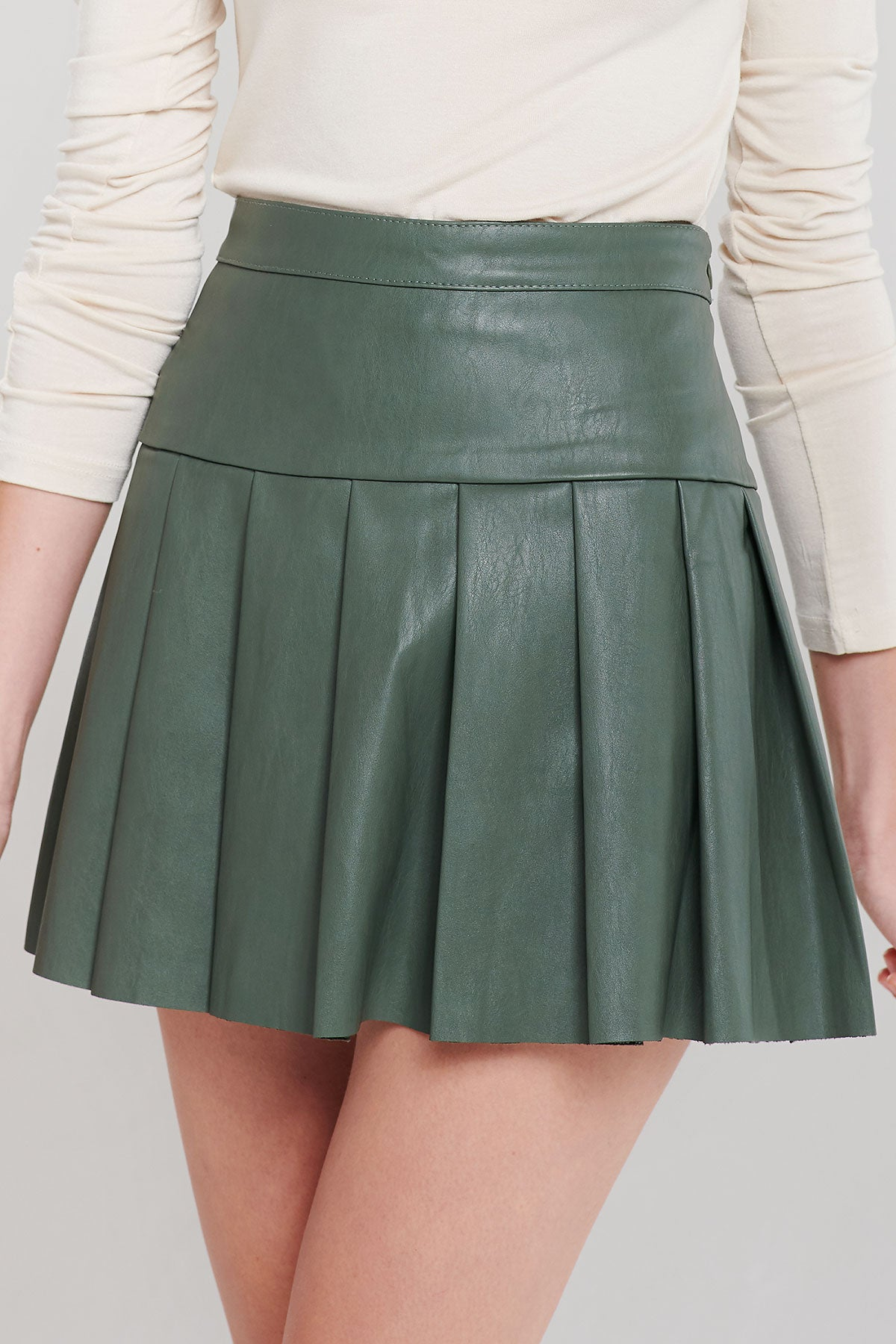 Ellen Pleather Pleated Skirt