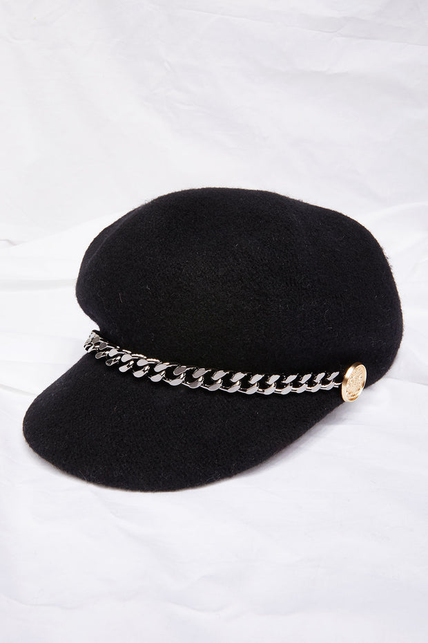 Chain Decor Newsboy Hat