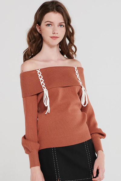 Ruby Lace-Up Off Shoulder Knit Top-3 Colors