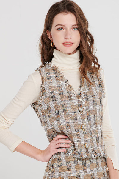 storets.com Gina Check Tweed Vest-2 Colors