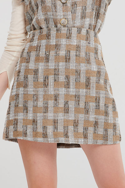 Gina Check Tweed Skirt