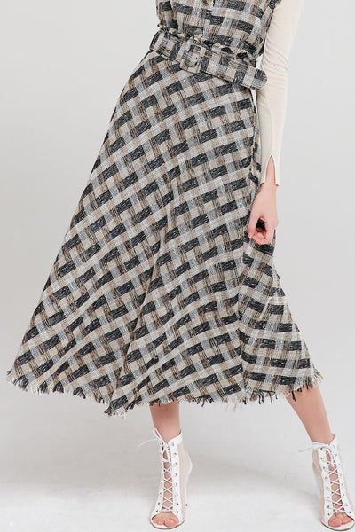 Gina Check Tweed Maxi Skirt