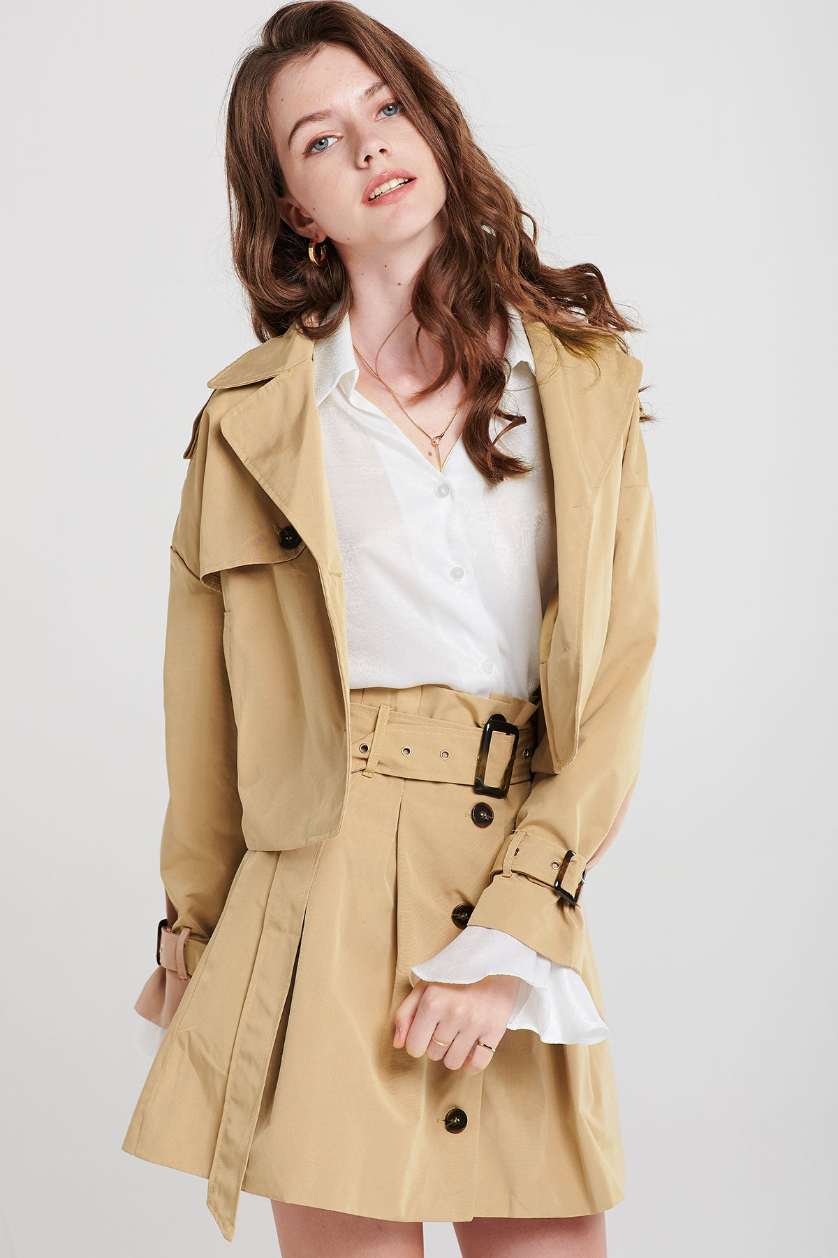 Chrissy Buttoned Neutral Set