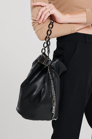 Yulia Pleather Chain Bucket Bag