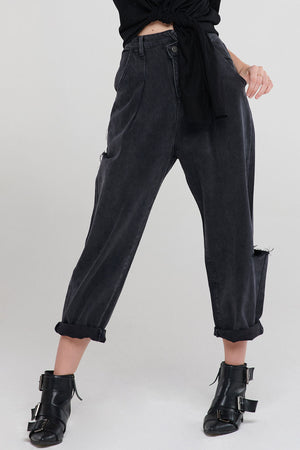 Moira Uneven Baggy Jeans