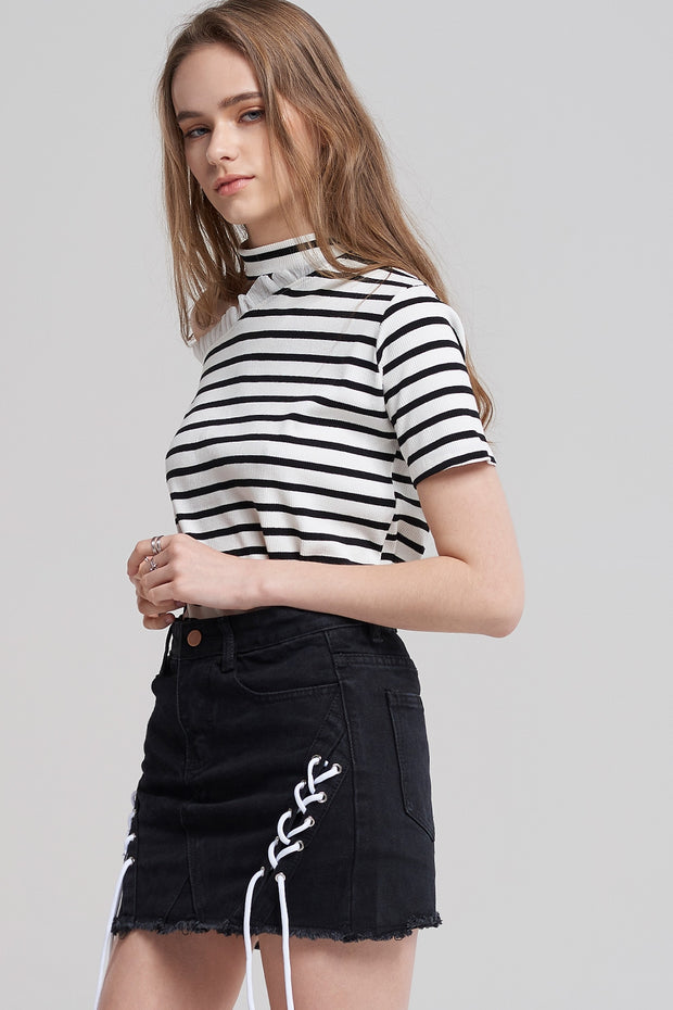 Zoey Black Denim Skirt