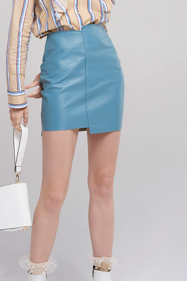 Linda Unbalanced Leather Skirt