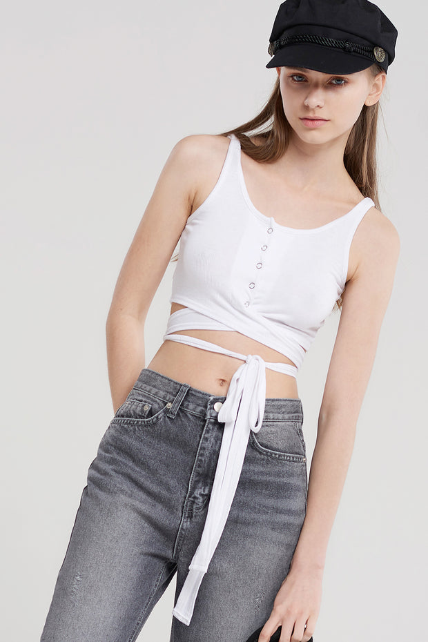 Mia Cropped Snap Top