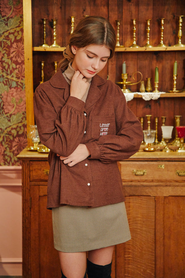 [LETTER FROM MOON] Heart Embroidery Pocket Blouse in Brown