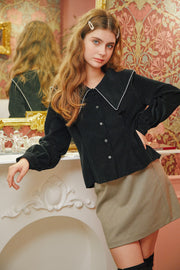 [LETTER FROM MOON] Sailor Big Collar Blouse in Black & Lace