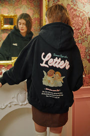 [LETTER FROM MOON] Baby Angels Hoodie T-shirts in Black