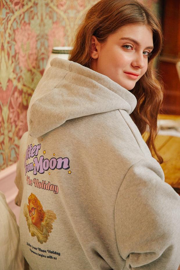 [LETTER FROM MOON] Holiday Angels Hoodie T-shirts  in Gray