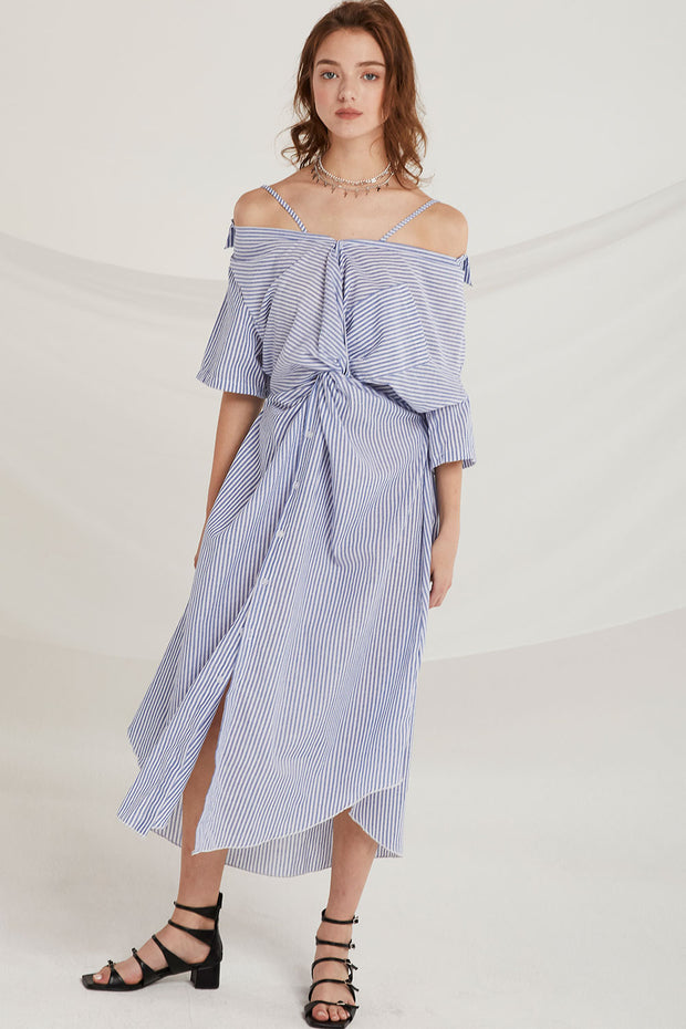storets.com Sarai Stripe Ruched Knot Dress