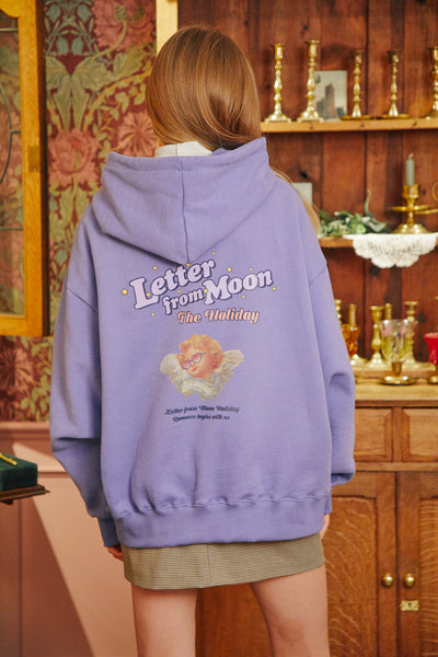 [LETTER FROM MOON] Holiday Angels Hoodie T-shirts in Blue