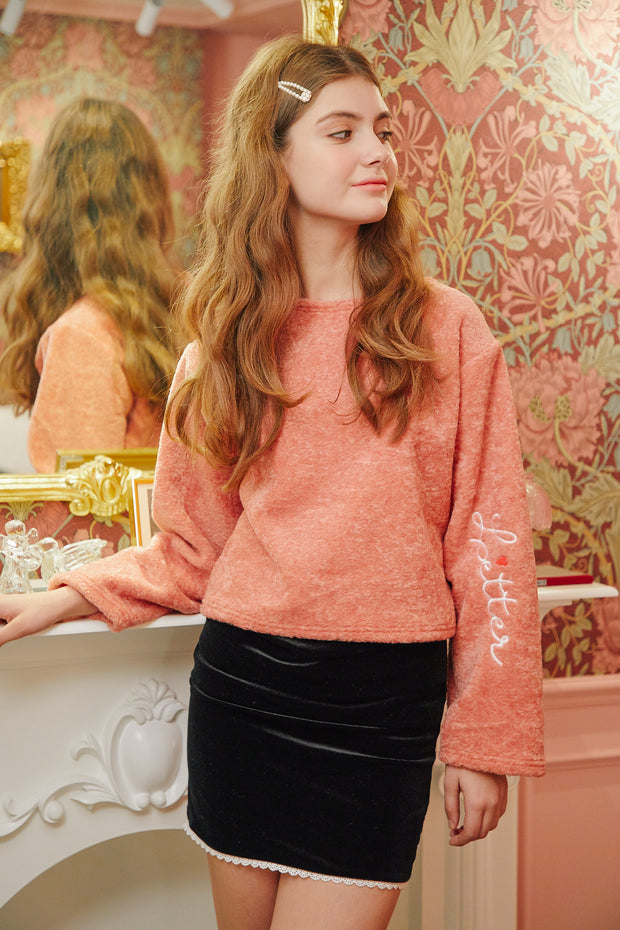 [LETTER FROM MOON] Fleece Crop T-shirts in Peach
