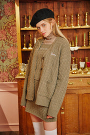 [LETTER FROM MOON] Heart Embroidery Wool Knit Cardigan in Khaki