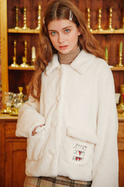 [LETTER FROM MOON] Heart Embroidery Fur Jacket in Cream