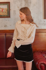 [LETTER FROM MOON] Sailor Collar Neck Bow Blouse in Ivory