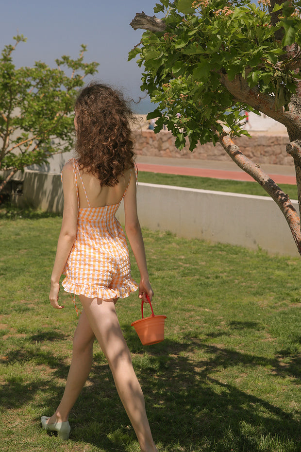 [Sincethen] Sunny Orange Short Jumpsuit