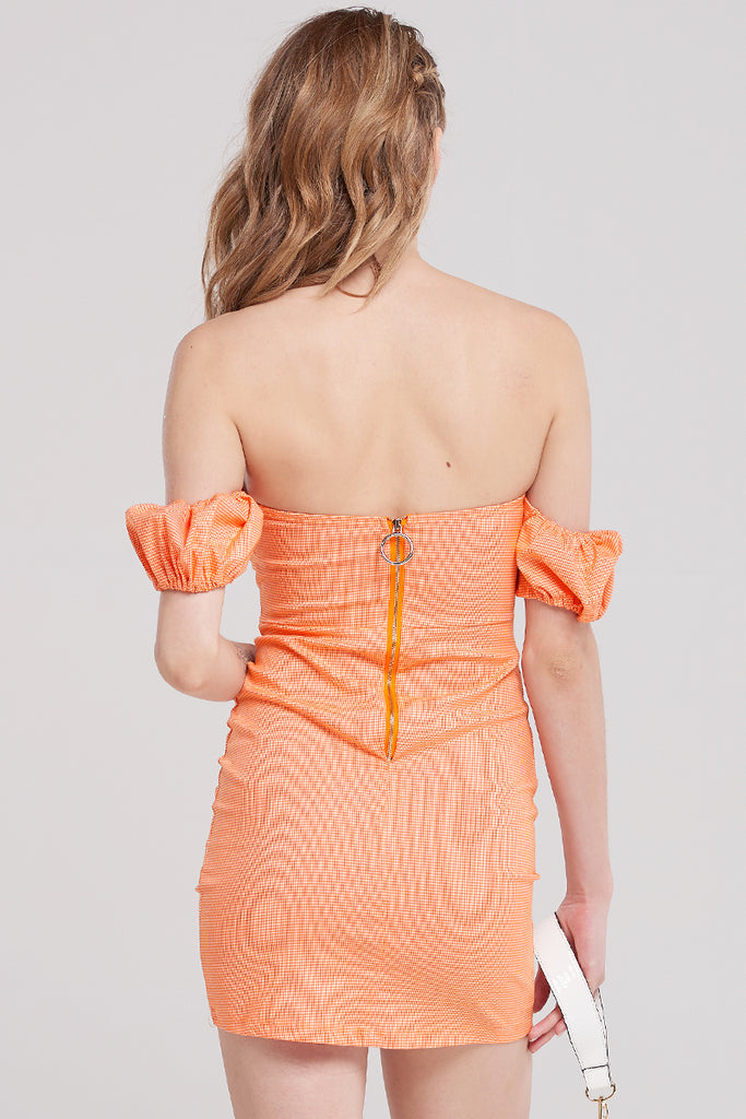 Koa Off Shoulder Top Dress-Orange