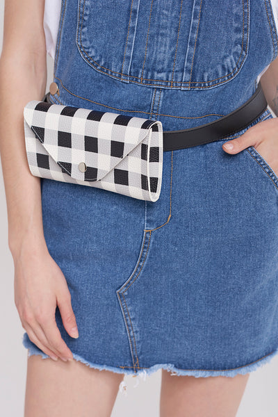 Gingham Check Belt Bag-Black