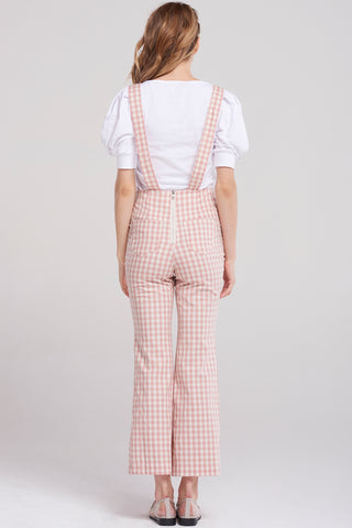 Gina Gingham Check Overalls-Pink