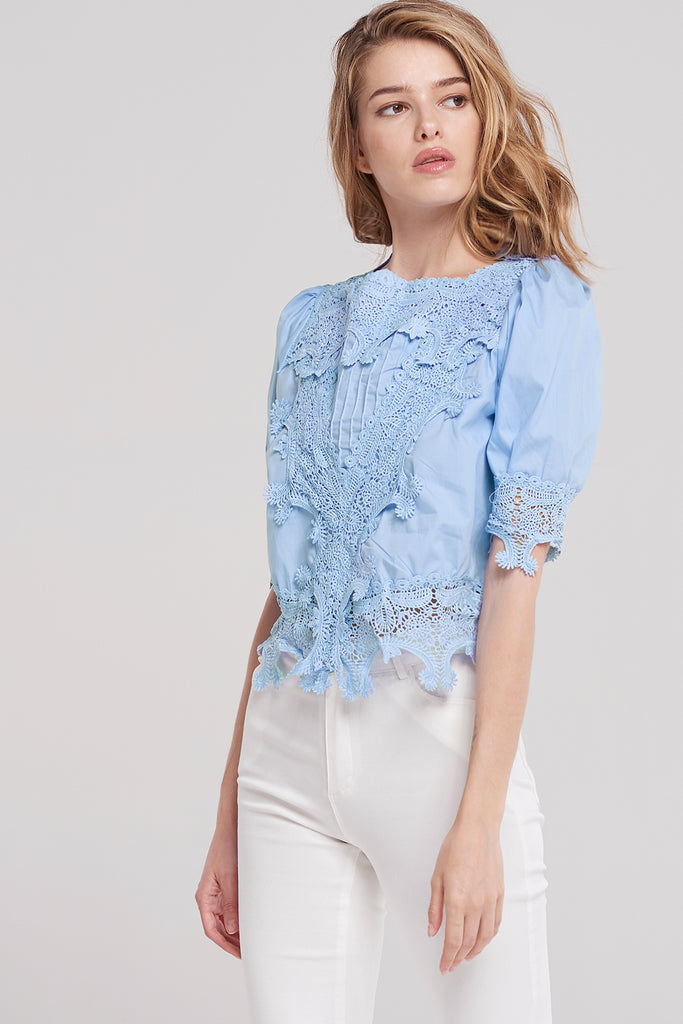 Khari Intricate Crochet Blouse-Skyblue