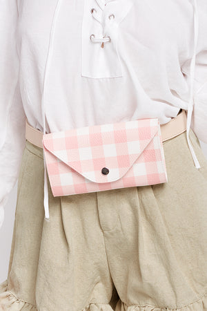 Gingham Check Belt Bag-Pink