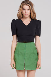 storets.com Jaxx Zip Up Two Pocket Skirt-Green