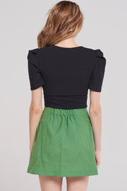 Jaxx Zip Up Two Pocket Skirt-Green