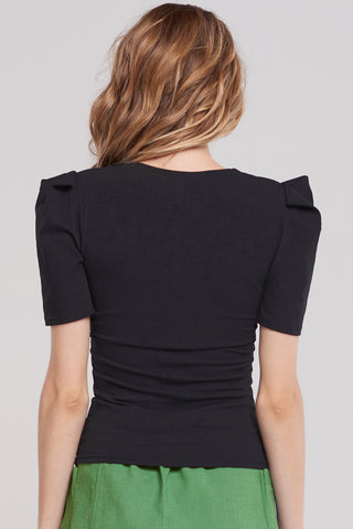 Lucy Clean V Neckline Top-Black