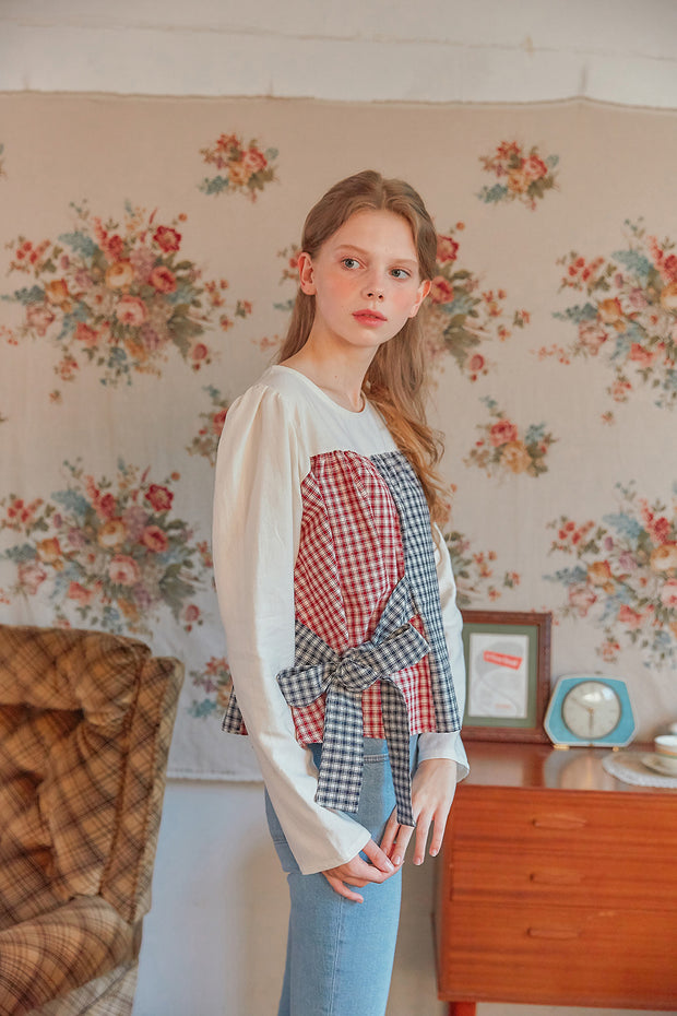 [LETTER FROM MOON] Plaid Block Play Blouse in Red & Navy