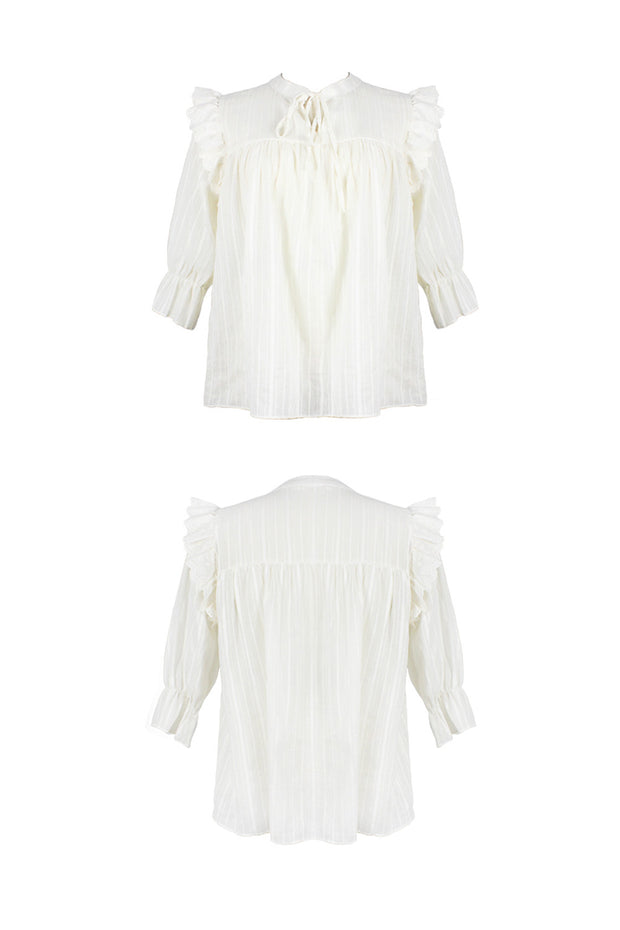 [LETTER FROM MOON] Lace Ruffled Sheer Blouse
