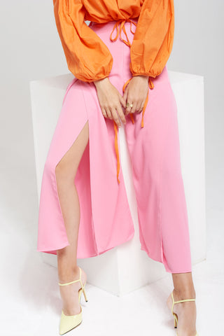 Erika Long Slit Flare Pants-Pink