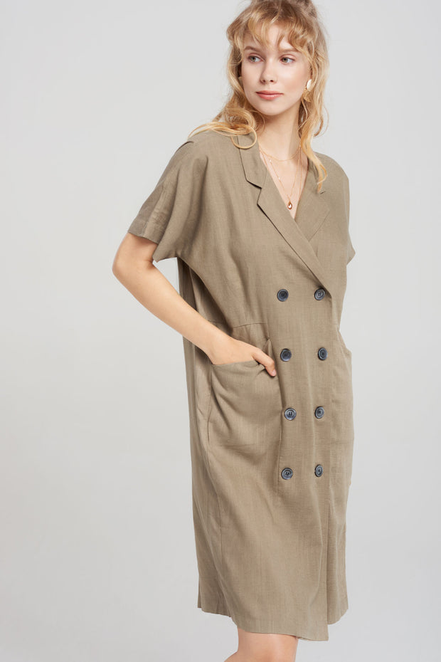 Zoe Double-button Jacket Dress-2 Colors