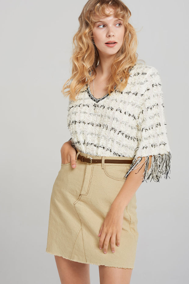 storets.com Tess Fringe Tweed Top