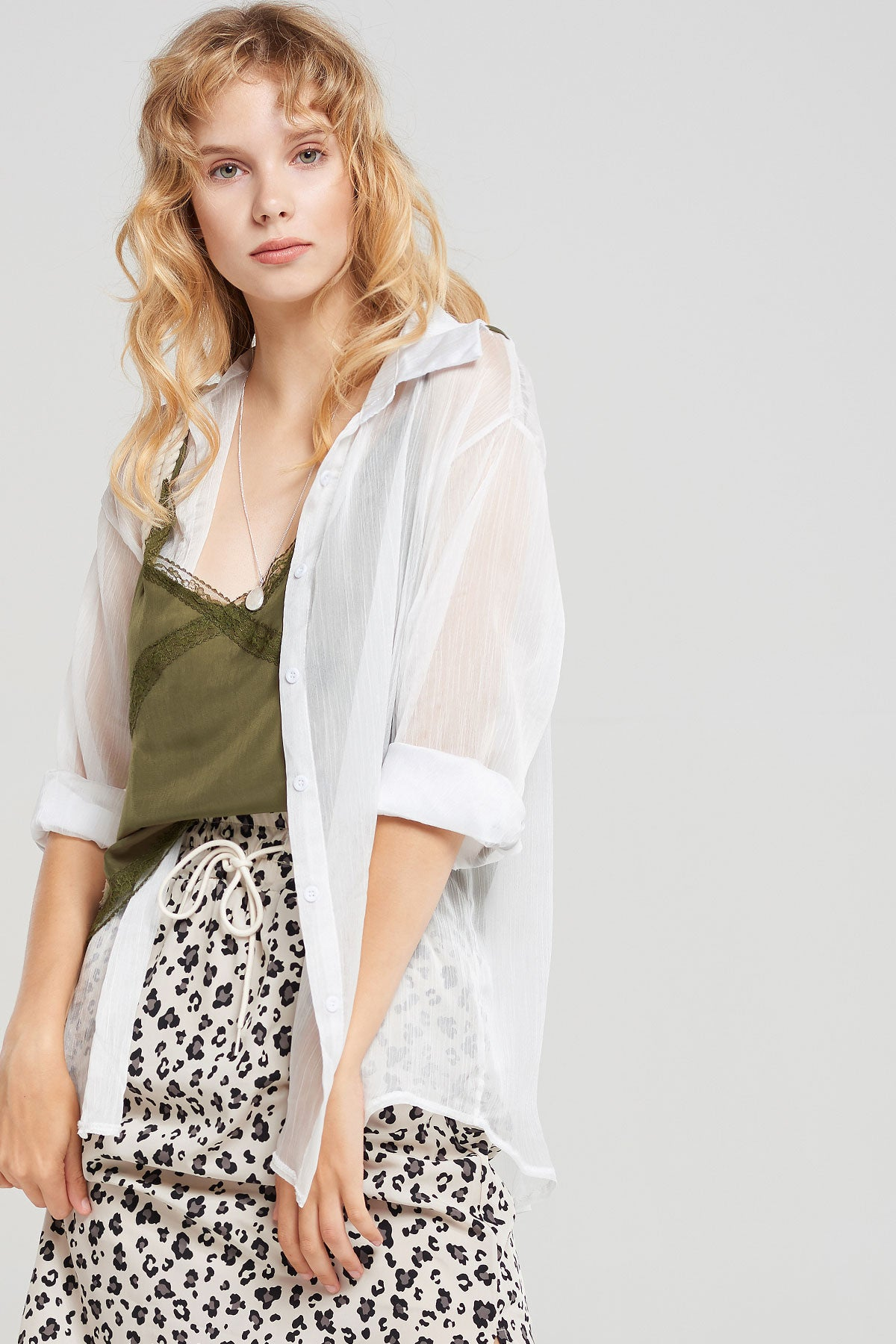 Heidi Lace Cami Layered Shirt