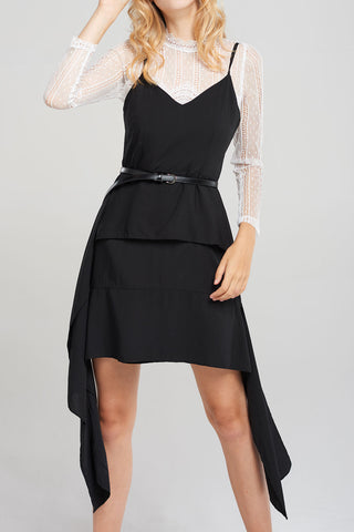 Mathild Side Ripple Dress-Black