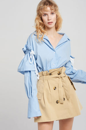 Nessa Drawstring Sleeves Shirt-2 Colors