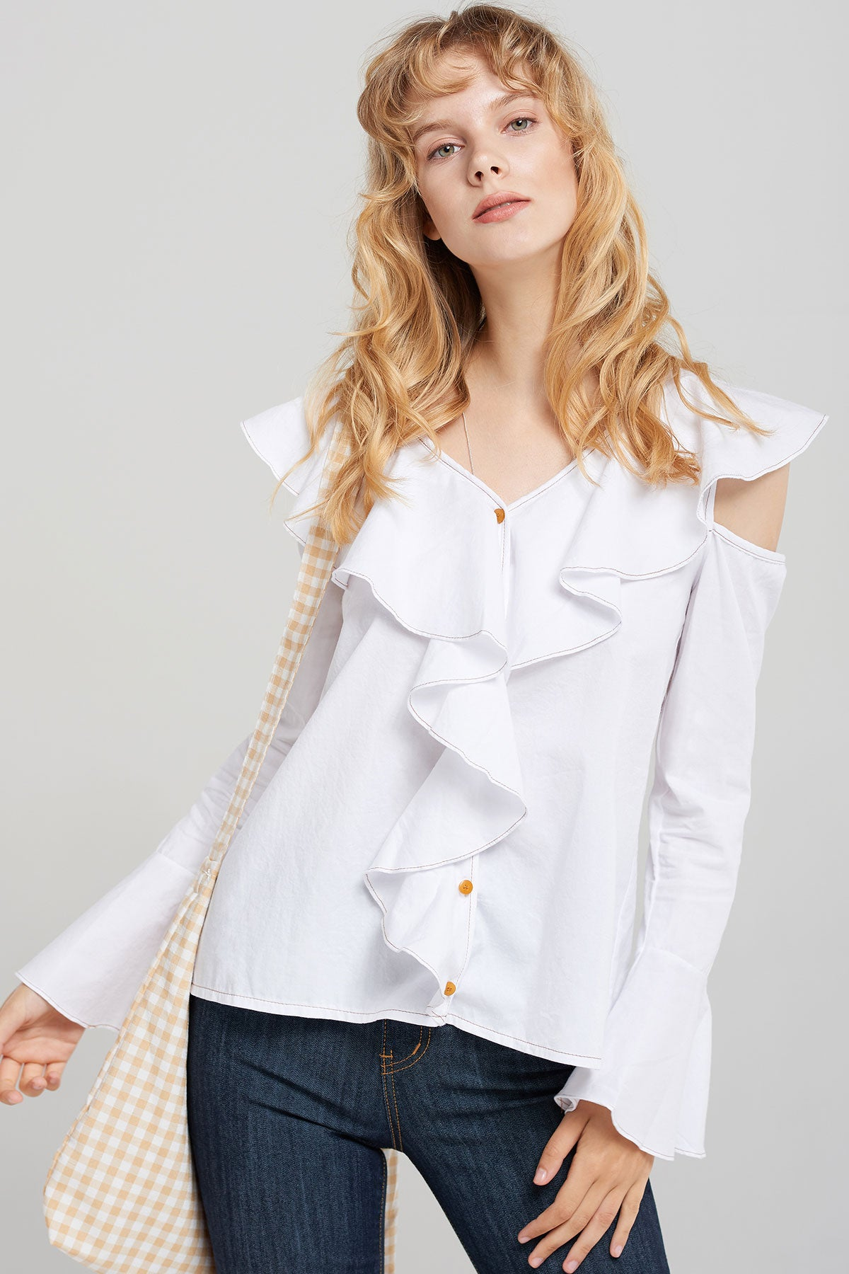 Hazel Ruffle Collar Blouse-2 Colors