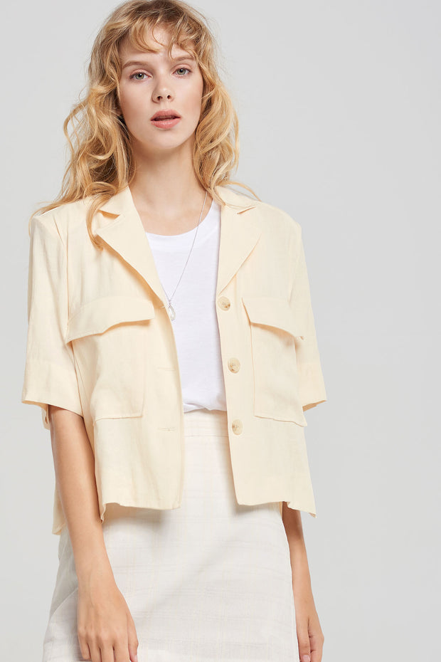 storets.com Fiona Cropped Linen Jacket-2 Colors