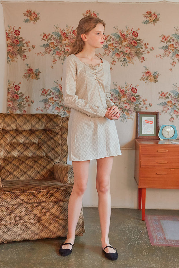 [LETTER FROM MOON] Pearl Button Gingham Dress in Beige