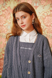 [LETTER FROM MOON] Heart Embroidery Wool Knit Cardigan in Gray