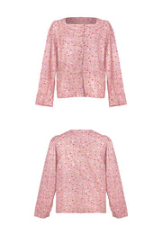 [LETTER FROM MOON] Square Neck Petite Flower Blouse in Pink